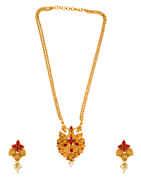 Peacock Design Red Colour South Matte Finish Fancy Pendant Set Jewellery