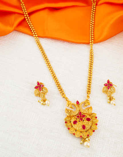 Peacock Design Red Colour South Matte Finish Fancy Pendant Set Jewellery