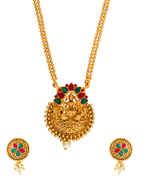 Multi Colour Gold Finish Fancy Traditional Pendant Set