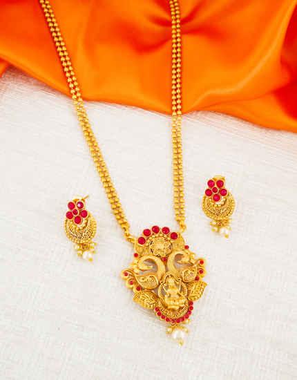 Peacock Design Red Colour Fancy Gold Finish Pendant Set Jewellery