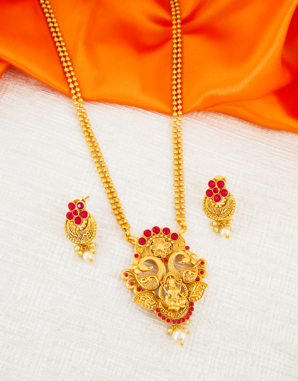 Peacock Design Red Colour Fancy Gold Finish Pendant Set Jewellery