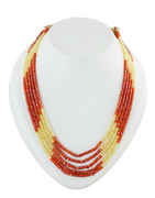 Orange-Yellow Colour Western Wear Cristal Beads Mala For Girls