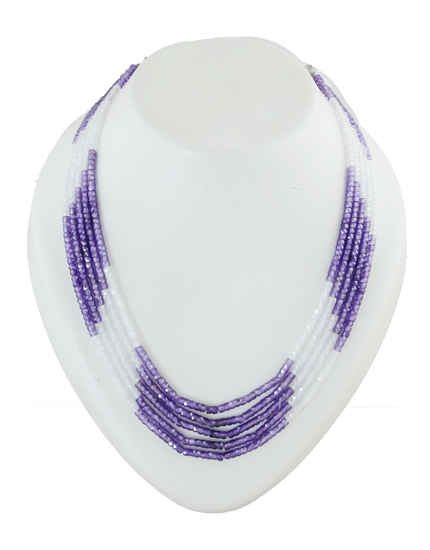 White-Purple Colour Party Wear Fancy Onex Real Jarkan Mala