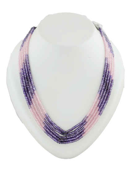 Pink-Purple Colour Designer Western Wear Beads Mala For Girls
