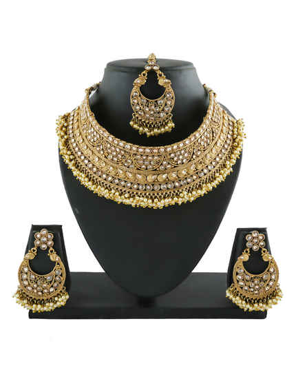 Gold Finish Designer Stunning Necklace Styled With Pearls Beads Fancy Chokar Necklace