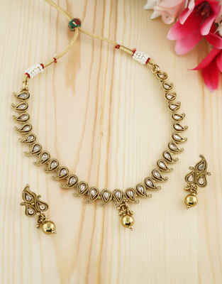 Simple Antique Gold Finish Stunning Necklace Jewellery For Wedding