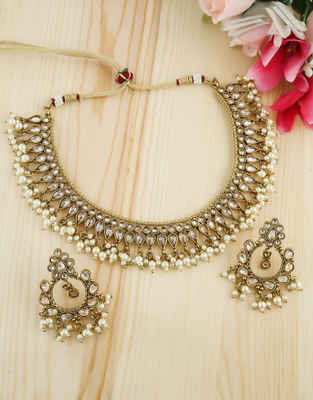 Designer Gold Finish Necklace Styled With Moti Beads Fancy Short Necklace