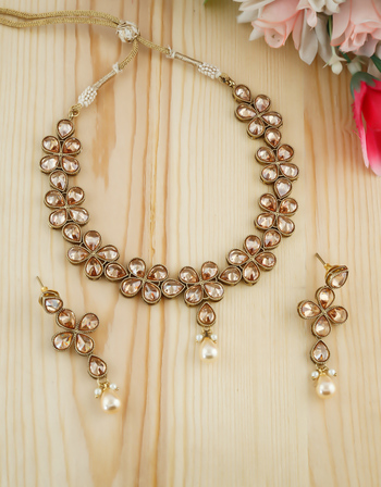 Floral Design Gold Finish Studded With LCD Stones Fancy Necklace For Girls