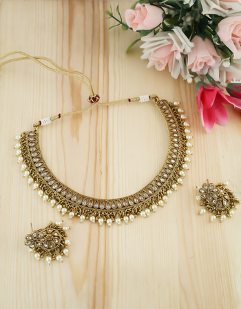 Antique Gold Finish Studded With Stones Pearls Beads Moti Fancy Necklace
