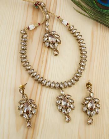 Simple Traditional Gold Finish Studded With Stones Fancy Necklace