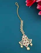 Rose Gold Finish American Diamond Fancy Mang Tika