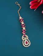 Pink Colour Rose Gold Finish Stylish American Diamond Tikka