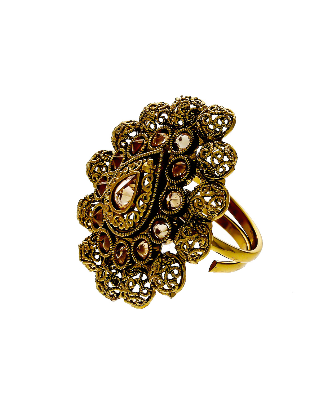 Antique Gold Finish Droplet Design Stunning Finger Ring For Women