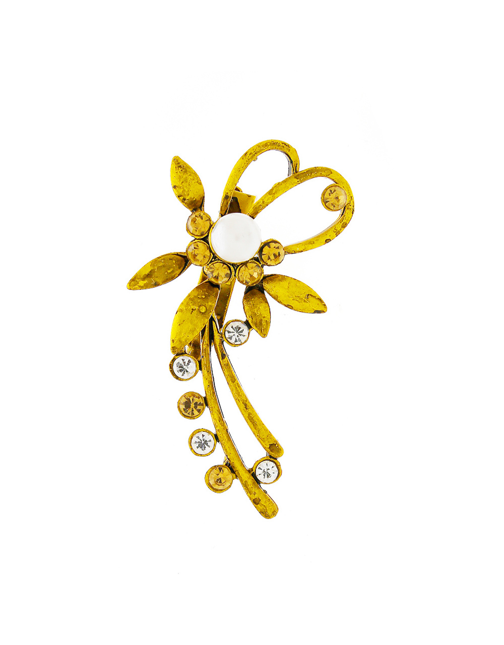 Floral Design Gold Finish Studded With Stones Brooch For Women