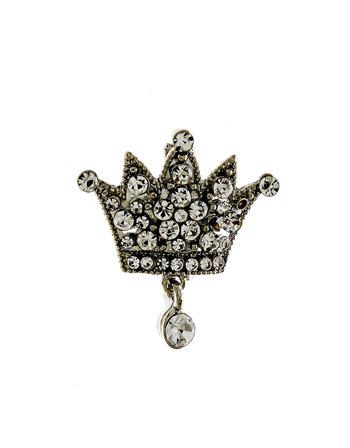 Antique Silver Finish Crown Design Stunning Brooch