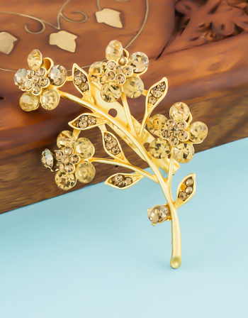 Matte Gold Finish Studded With Stones Fancy Brooch For Wedding