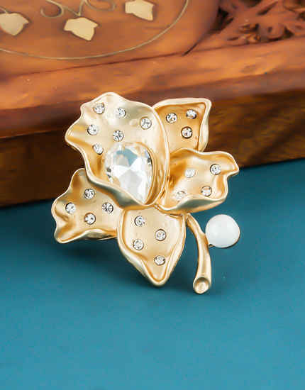 Floral Design Gold Finish Studded With Stones Fancy Brooch For Girls