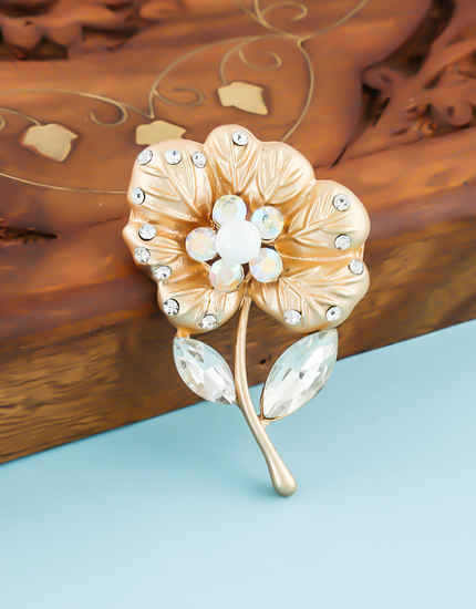 Rose Gold Finish Floral Design Studded With Stones Brooch Pin
