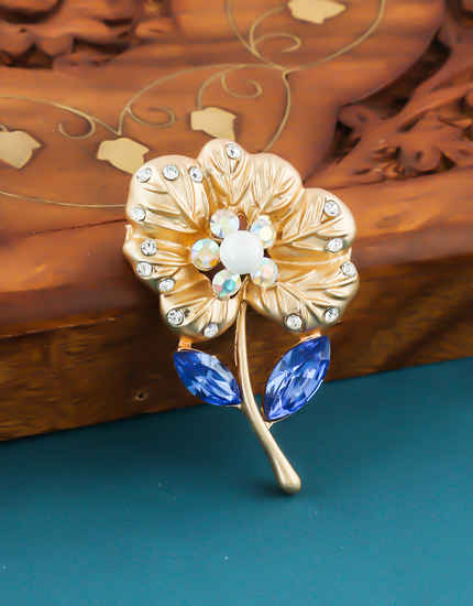 Blue Colour Gold Finish Studded With Stones Western Wear Jewellery Brooch