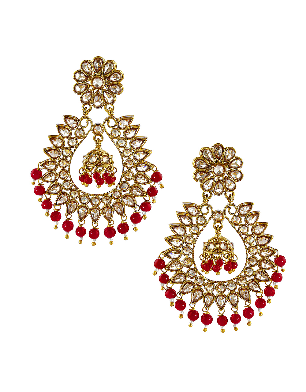 Red Colour Antique Gold Finish Party Wear Earrings Fancy