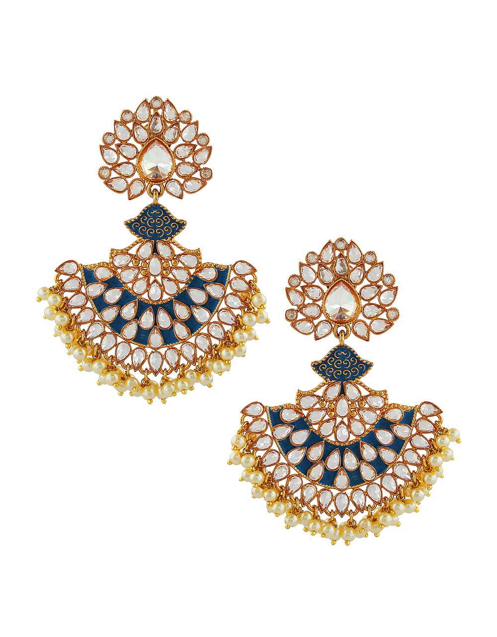 Blue Colour Gold Finish Pearls Styled Earrings For Girls
