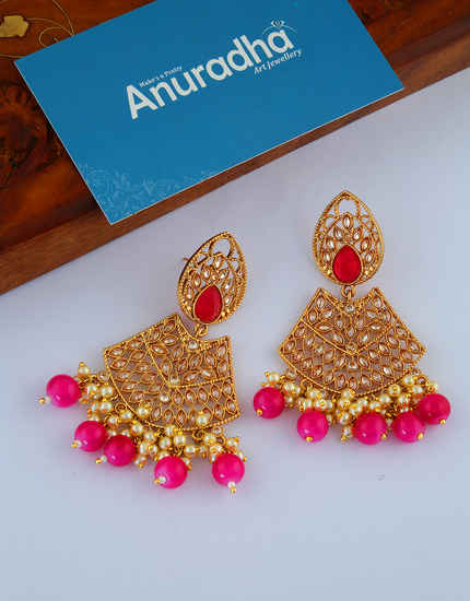 Pink Colour Antique Gold Finish Designer Earrings For Wedding