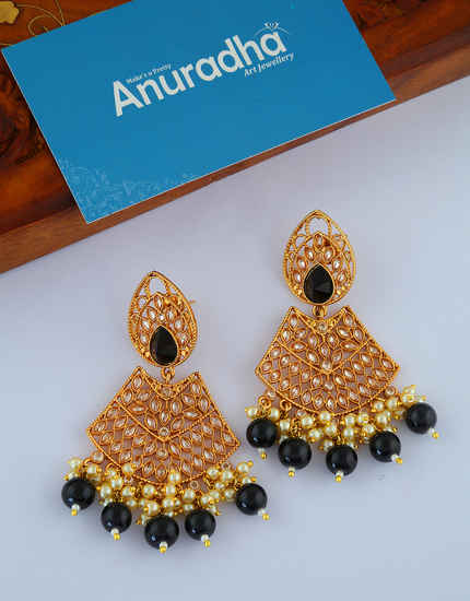 Black Colour Antique Gold Finish Styled With Moti Beads Fancy Earrings