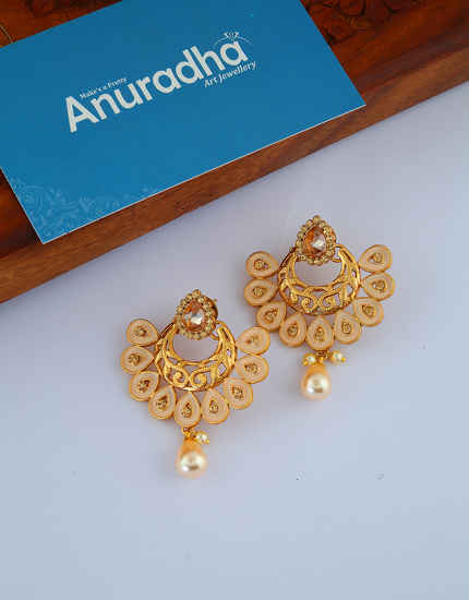 Simple Gold Finish Chandbali Earrings For Girls