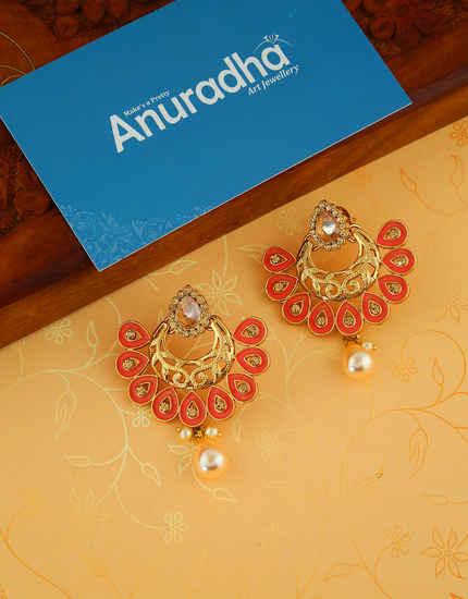 Red Colour Gold Finish Simple Earring For Fancy Wear