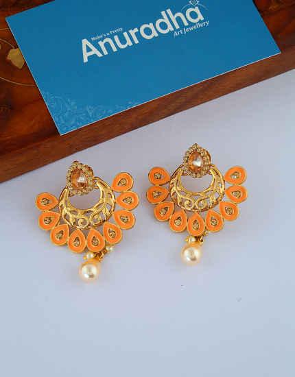 Orange Colour Gold Finish Simple Chandbali Earrings