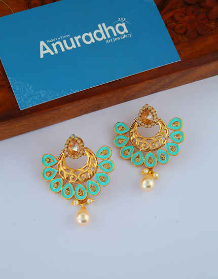 Turquiose Colour Fancy Gold Finish Earring Trendy