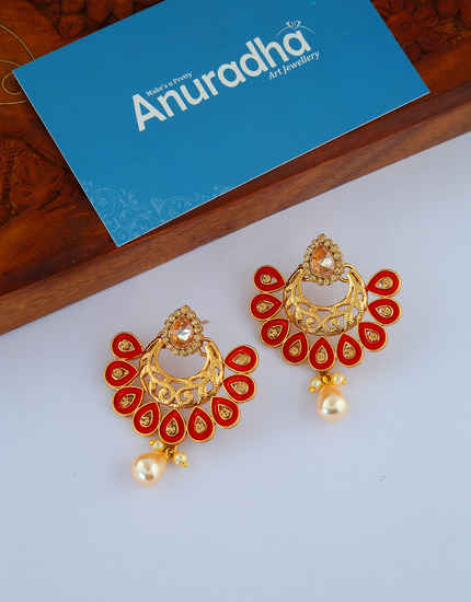 Red Colour Gold Finish Simple Chandbali Earrings Fancy