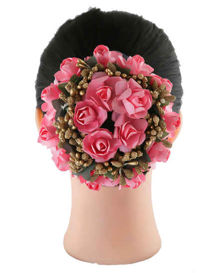 Pink Colour Fancy Hair Accessories Floral Jewellery For Girls