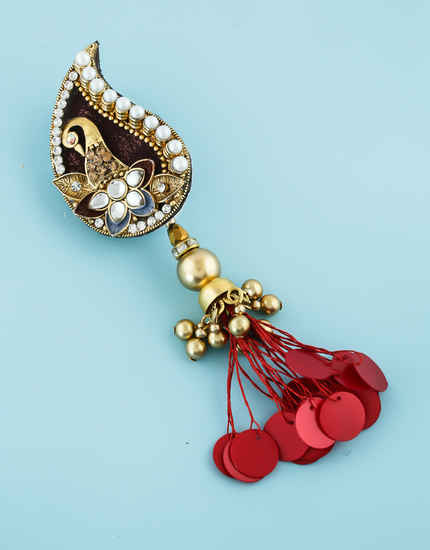 Maroon Colour Gold Finish Peacock Design Traditional Saree Pin