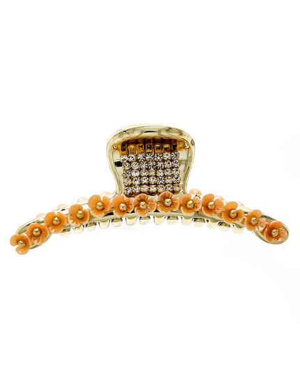 Gold Finish Orange Colour Studded With Stones Fancy Hair Pin