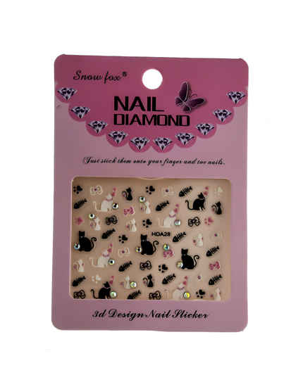 Black Colour Kitty Cat Nail Sticker
