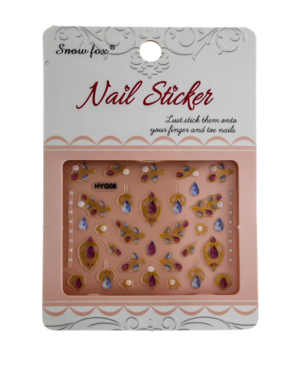 Pink Colour Simple Sparkling Nail Art Sticker