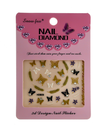 Fashionable Gold Finish Butterfly Design Nail Sticker