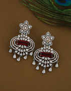 Rani Colour Rose Gold Finish Diamond Earrings For Girls