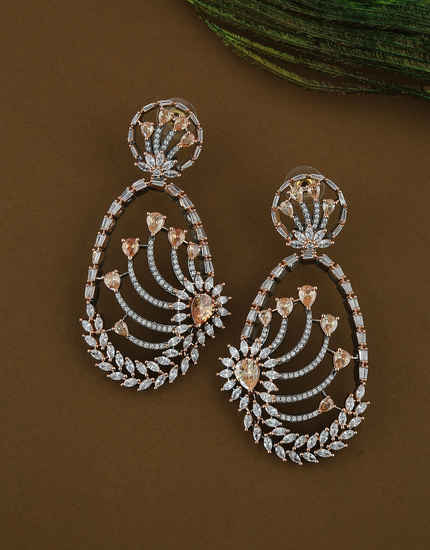 Peach Colour Rose Gold Finish Diamond Earrings For Fancy Wear