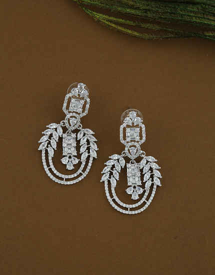 Silver Finish Designer Studded With Diamond Fancy Earrings