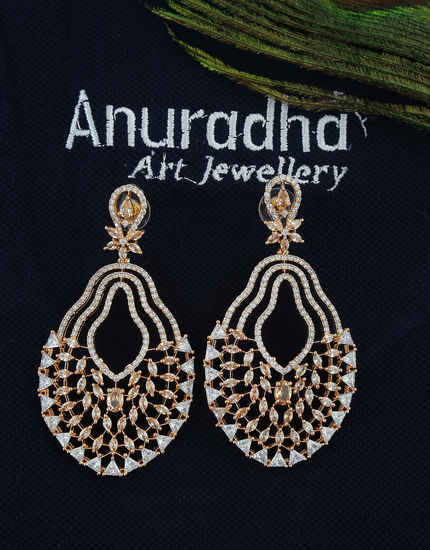 Rose Gold Finish Fancy Diamond Earrings For Girls