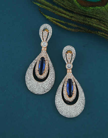 Blue Colour Rose Gold Finish Diamond Party Wear Earrings