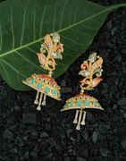 Matte Gold Finish Multi Colour Jhoomka Earrings