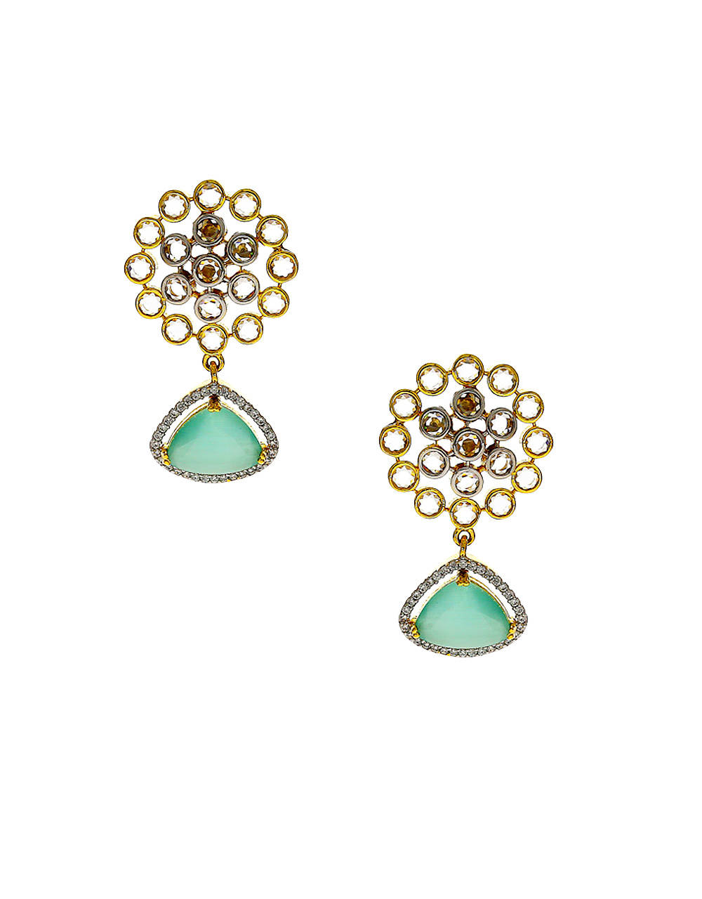 Green Colour Gold Finish Simple Diamond Stud