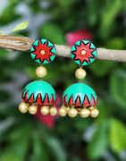 Multi Colour Terracotta Jhumkaa Earring For Girls