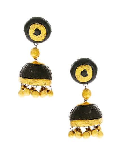 Black Colour Trendy Terracotta Earrings Fancy Wear
