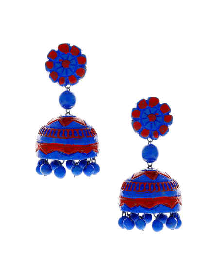 Blue-Red Combination Terracotta Earrings For Women Fancy