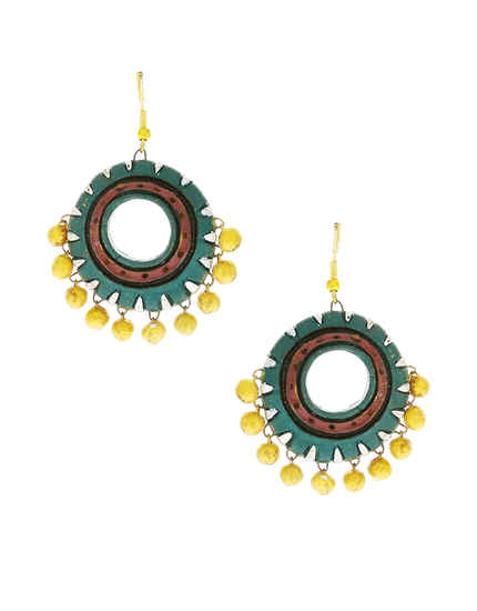 Green Colour Fancy Handmade Colourful Earrings