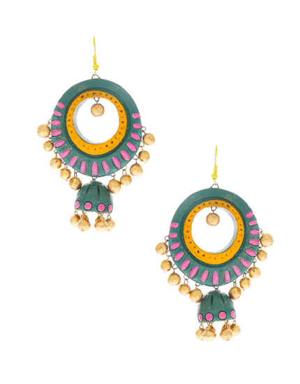 Fashionable Green Colour Terracotta Earrings Jewellery